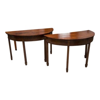 Pair of English Georgian Mahogany Demilune Console Tables For Sale