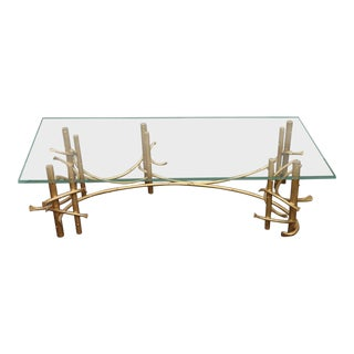 Vintage Brutalist Silas Seandel Style Gold Coffee Table For Sale