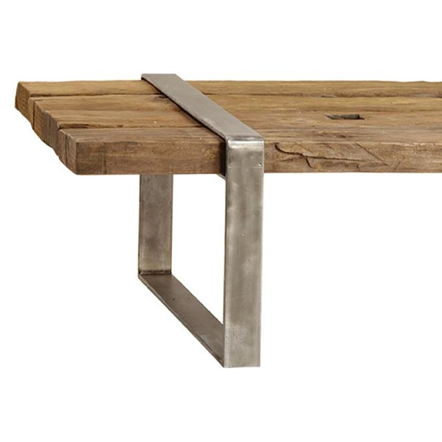 Reclaimed wood steel coffee table chairish Where can i buy reclaimed wood near me