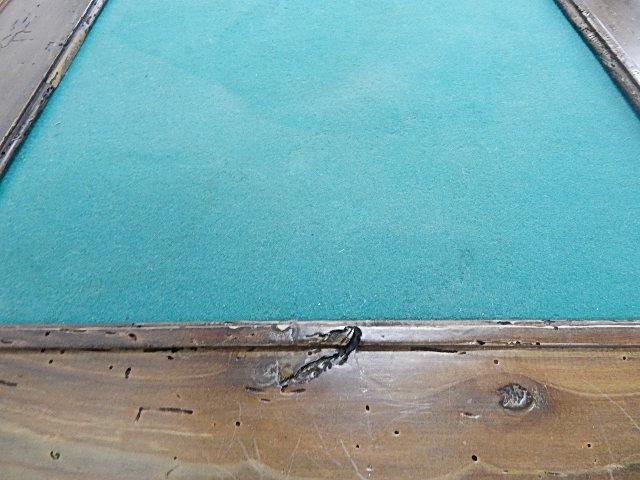 Country Style Game Table, Worm Hole Wood With Green Felt Top   Image 7 Of