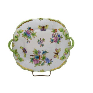 Queen Victoria Square Handled Cake Plate by Herend For Sale