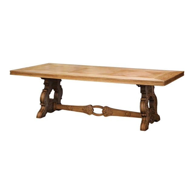 Early 20th Century French Carved Bleached Oak Marquetry Trestle Dining Table For Sale