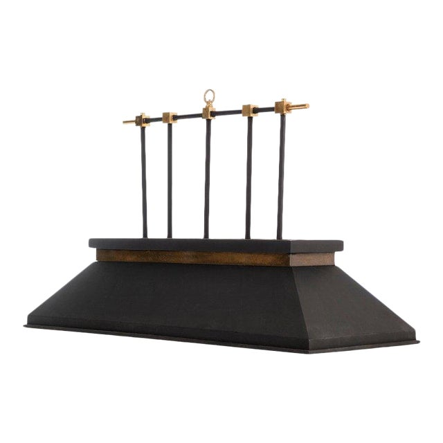 Brass and Matte Black Billiard Lamp For Sale