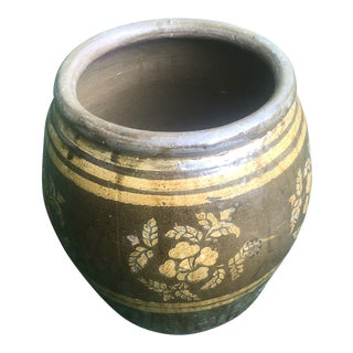 Antique Floral Brown Earthenware Chinese Egg Jar Pi Tang Kong Water Pot For Sale