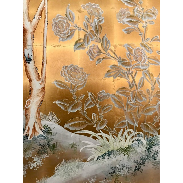 Chinoiserie Old Handpainted Wallpaper Panel, Mounted on Foam Core For Sale In Los Angeles - Image 6 of 8
