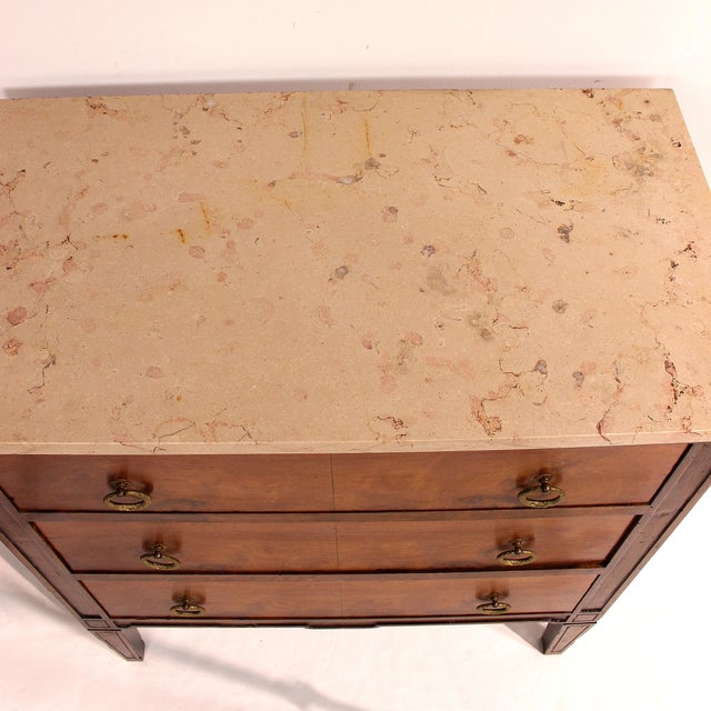 Mid 19th Century 19th Century Louis XVI Style Chest With Marble Top For Sale - Image 5 of 13