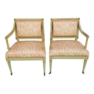 French Arm Chairs on Casters - a Pair