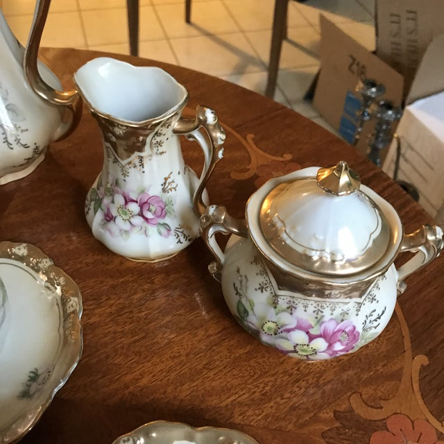 Stunning, 1960s Hand Painted Prussia Floral Chocolate Set, Reduced For Sale - Image 10 of 13