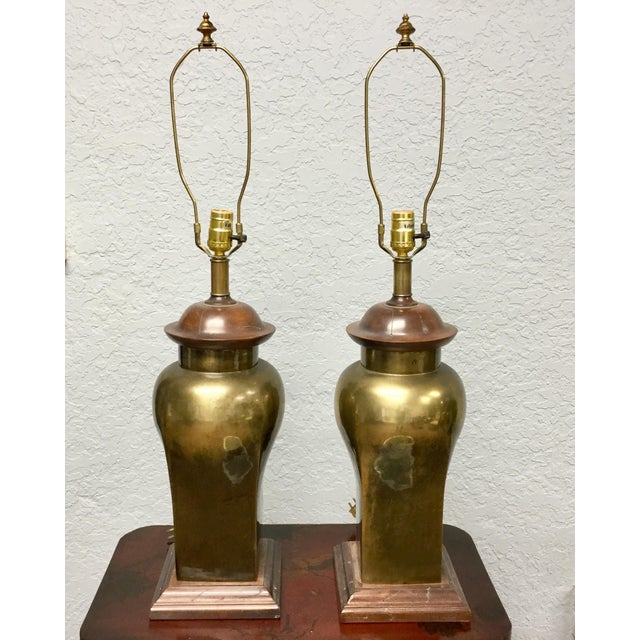 20th Century Hollywood Regency Ethan Allen Brass Table Lamps - a Pair For Sale - Image 9 of 9