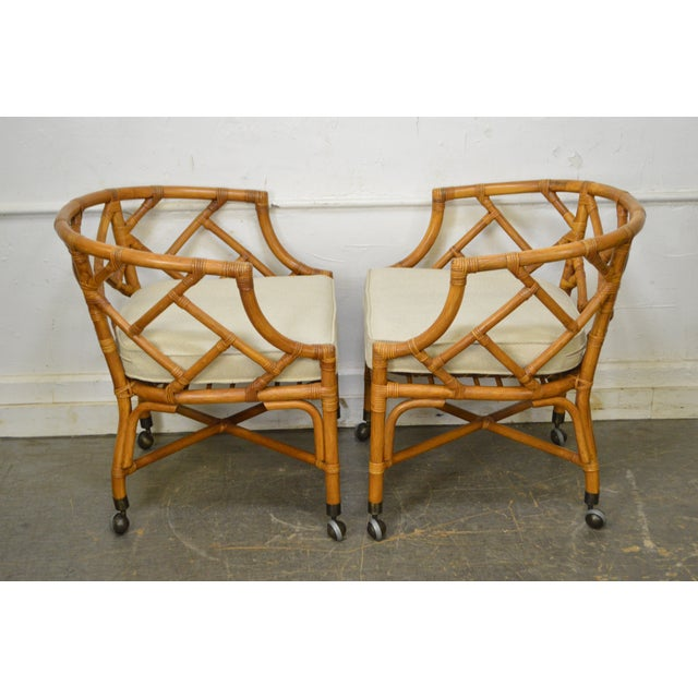 Tan McGuire Style Rattan Bamboo Barrel Back Club Chairs - a Pair For Sale - Image 8 of 13