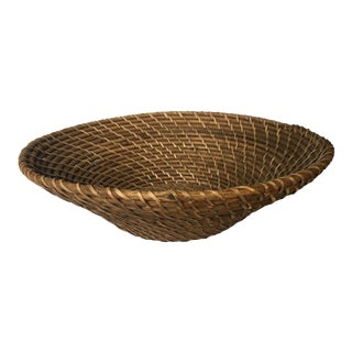 Midcentury Reed Rattan Hand Woven Hapao Saucer Basket For Sale