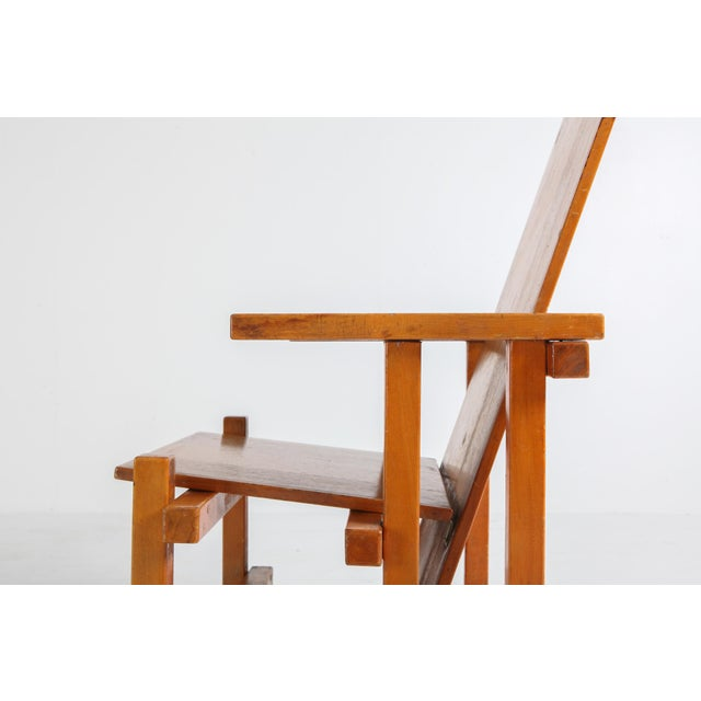 Brown Modernist Armchairs Attributed to Gerrit Rietveld For Sale - Image 8 of 10