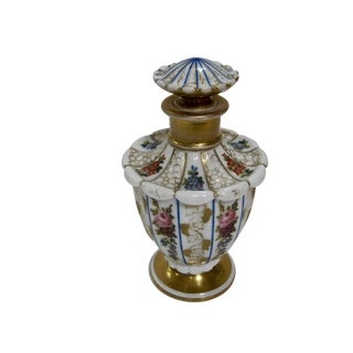 Antique Exquisite Hand Painted Floral Gilt Perfume Bottle For Sale