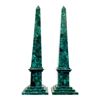 Large Russian Marble Malachite Obelisks Sculptures - a Pair For Sale