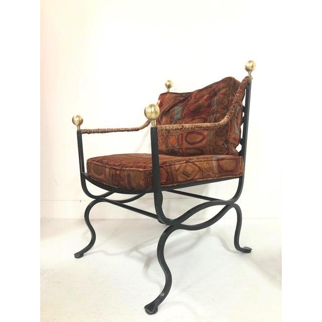 Pair of Italian Hollywood Regency Savonarola Chairs For Sale - Image 4 of 8
