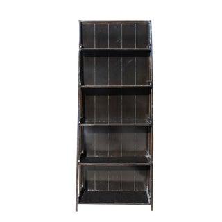 Distressed Black 5 Shelves Triangle Ladder Shape Bookcase Display Cabinet For Sale