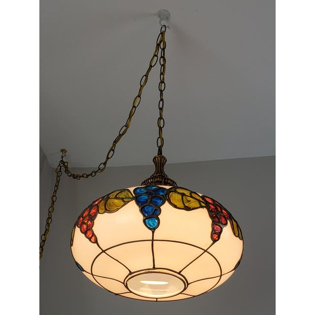 Arts & Crafts Mid-Century Ceiling Swag Lamp Hand Painted Glass Metal Overlay White Grape Leaves For Sale - Image 3 of 11