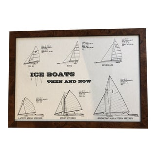 Faux Burl Wood Framed Diagram of Ice Boats Poster For Sale