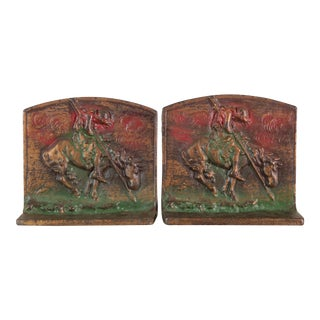"""End of the Trail"" BronzMet Cast Iron Bookends - a Pair For Sale"