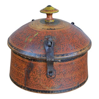 Antique Afghan Lidded Wooden Spice Box For Sale