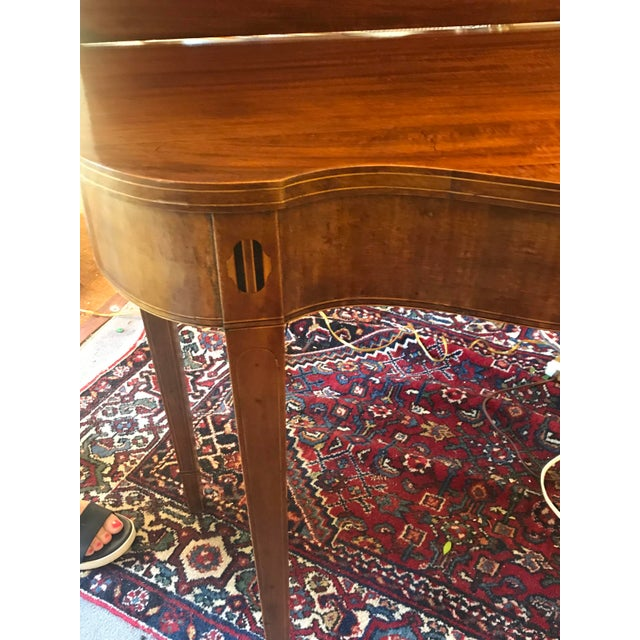 Traditional Mahogany Bridge Table With Scalloped Drop Down/Flip Top For Sale - Image 3 of 8