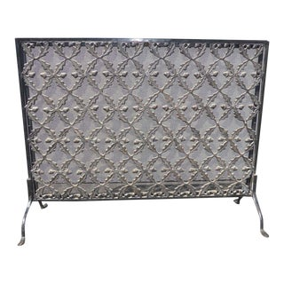 Vintage Spanish Style Metal & Wrought Iron Acorns and Leafs Fireplace Screen For Sale