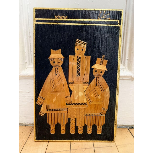 1960s Vintage Russian Folk Art Wall Plaques- 3 Pieces For Sale - Image 4 of 12