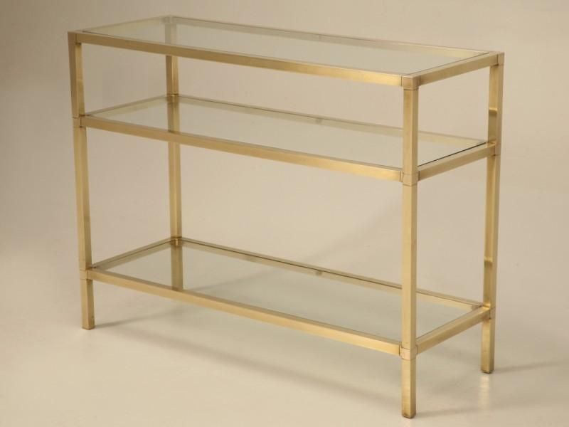 Vintage French Modern 3 Level Brushed Brass U0026 Glass Console Table   Image 2  Of 11
