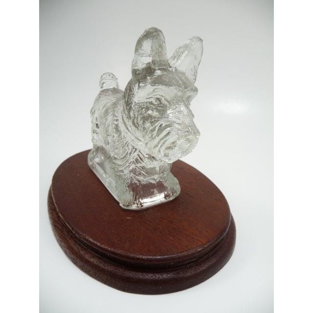 Vintage Glass Scottie Dog Figurine on Oval Wood Base - Image 5 of 6