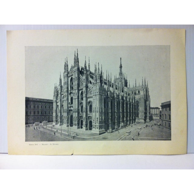 """Circa 1930 """"In Duomo"""" Print of Milano Italy For Sale - Image 4 of 4"""
