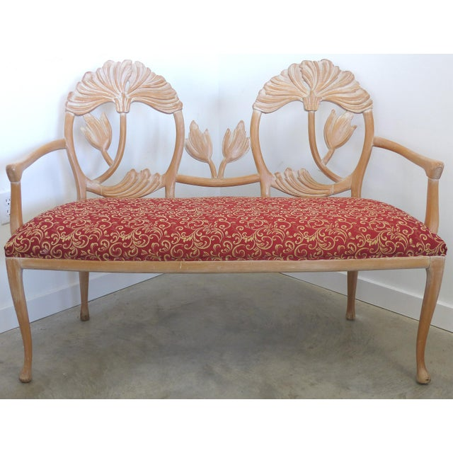 LaVerne Style Carved Wood Settee For Sale - Image 12 of 12