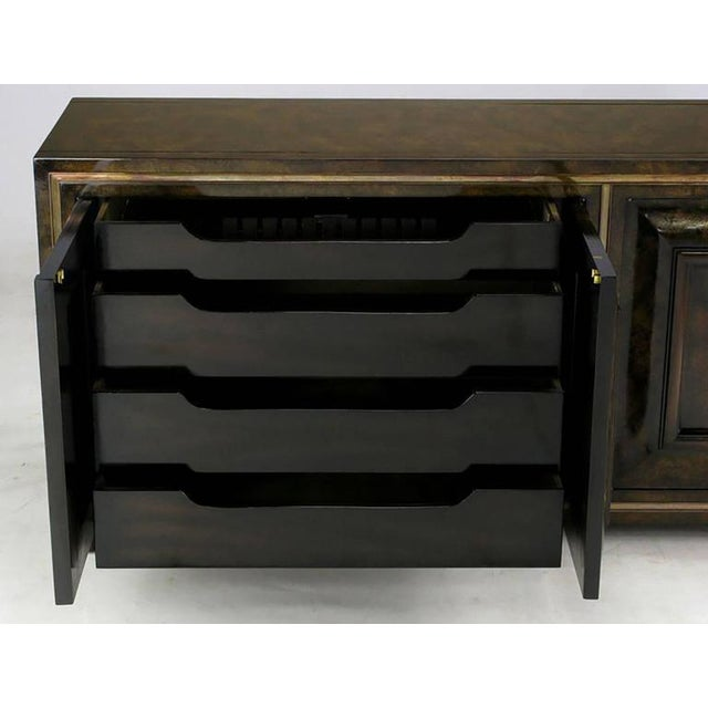 1960s Elegant Burled Amboyna and Brass Sideboard by Mastercraft For Sale - Image 5 of 8