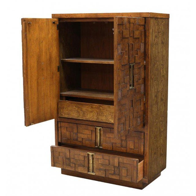 Brutalist Lane Brutalist Style Wood Mosaic Bachelor's Chest, circa 1970 For Sale - Image 3 of 5