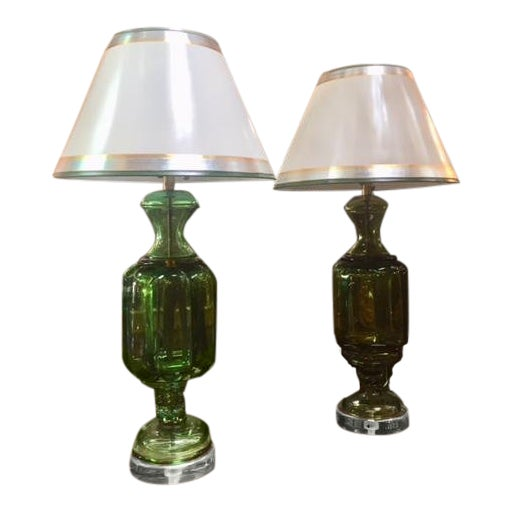 1960s Vintage Emerald Green Murano Lamps Marbro Company - a Pair For Sale