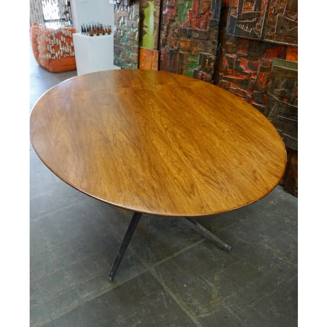 Knoll Florence Knoll Walnut on Chrome Base Oval Dining / Conference Table For Sale - Image 4 of 9