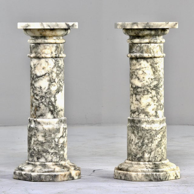Italian Carved Marble Columns or Pedestal Stands - a Pair For Sale - Image 12 of 12