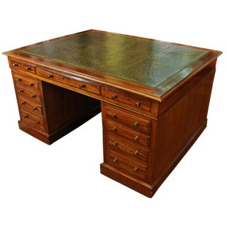 English Mahogany Leather Top Partner's Desk For Sale