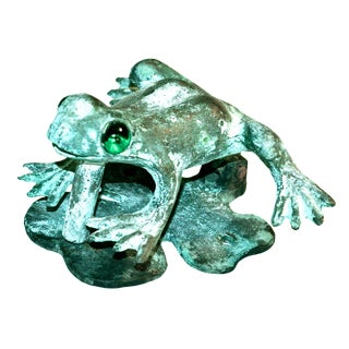 Bronze Frog Door Knocker With Glass Eyes
