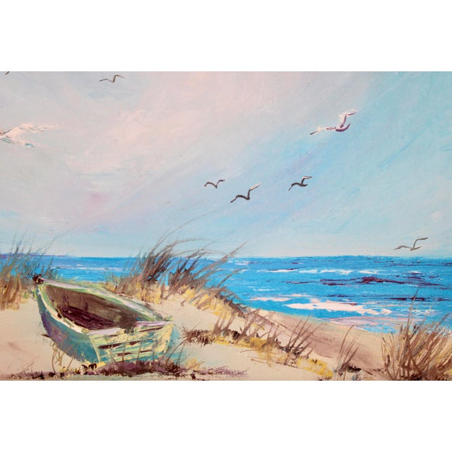 Vintage Beach Seascape Original Oil Painting For Sale - Image 10 of 13