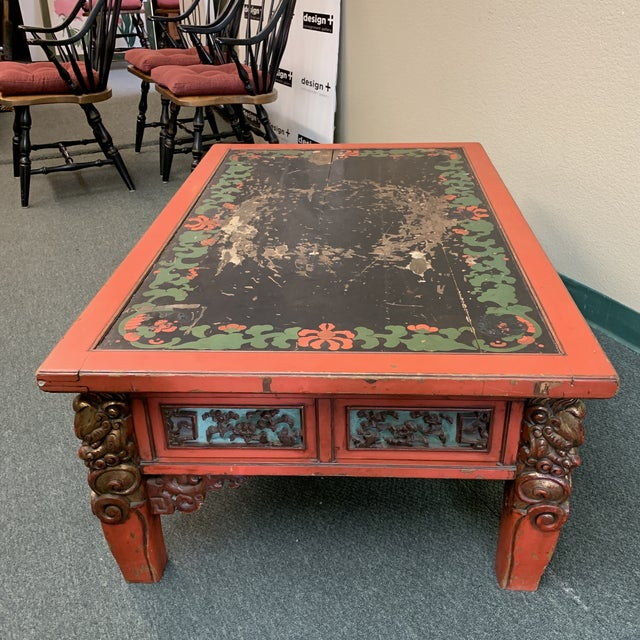 Metal Mid-20th Century Chinese Hand Painted + Carved Coffee Table For Sale - Image 7 of 12