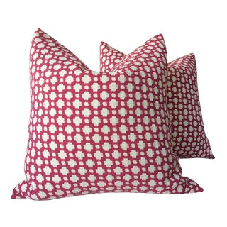 "Schumacher ""Betwixt"" Magenta Pillows - a Pair"