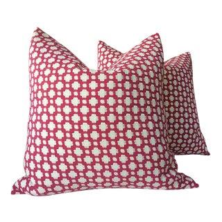 """Schumacher """"Betwixt"""" Magenta Pillows - a Pair For Sale"""