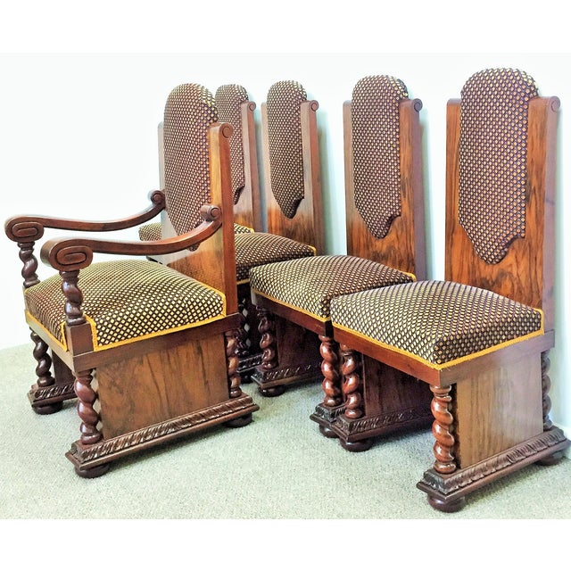 Rare and beautiful dining chairs. Include four side chairs and one armchair. It's made of walnut root and mahogany. Side...