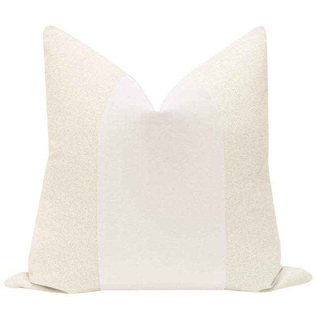 """Pair of beautiful 22"""" natural linen pillows with an Alabaster velvet center and solid natural linen reverse. Meticulously..."""