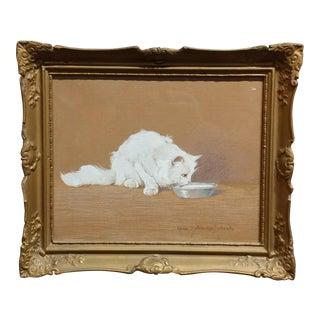 Gabrielle Rainer Istvanffy-White Cat drinking milk-Beautiful painting