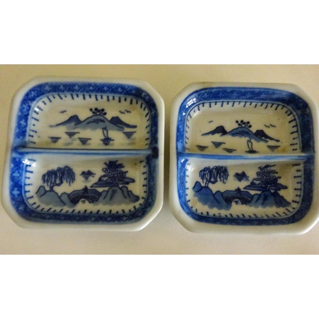 Chinese Blue Willow Sauce Dishes - a Pair For Sale - Image 4 of 4