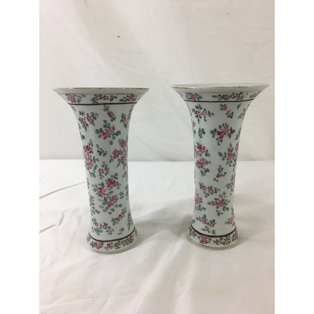 French Floral Trumpet Vases - a Pair For Sale - Image 9 of 9
