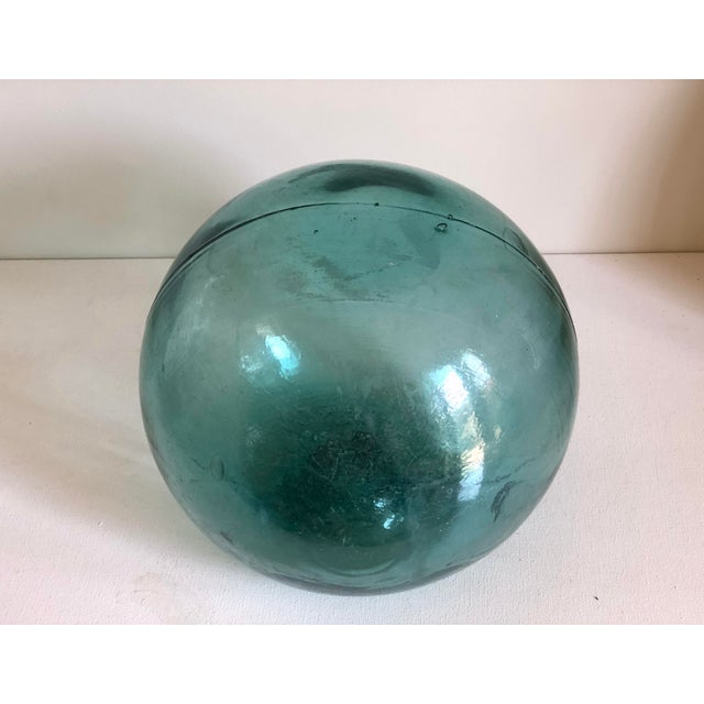 Contemporary Vintage Aqua Glass Fishing Float For Sale - Image 3 of 6