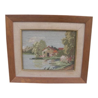 Mid 20th Century Framed Cottage Needlepoint For Sale