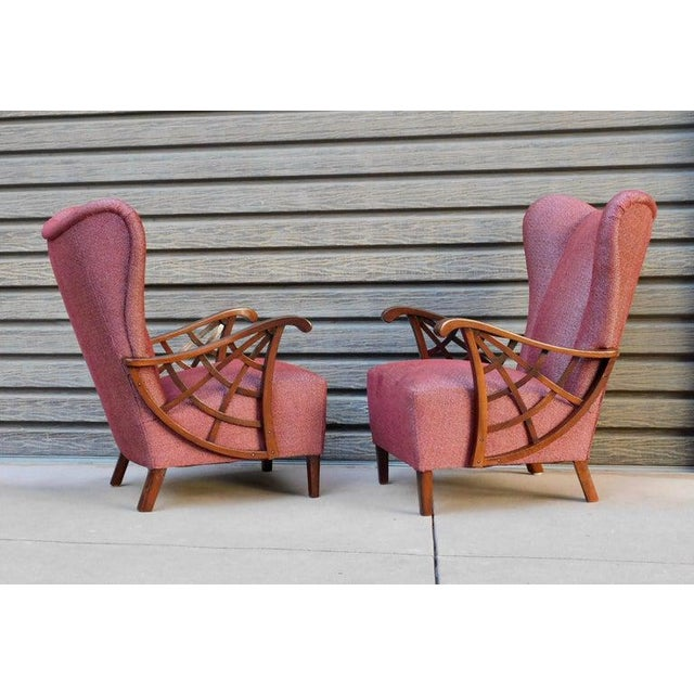 1940s 1940s Vintage Swedish Modernist Winged Back Spider Web Armchairs- a Pair For Sale - Image 5 of 13